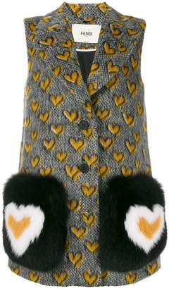 Fendi hearts contrast sleeveless coat