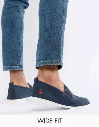 Original Penguin Wide Fit Norris Slip On Sneakers In Navy