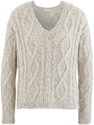 Majestic Filatures V-neck cable knit jumper
