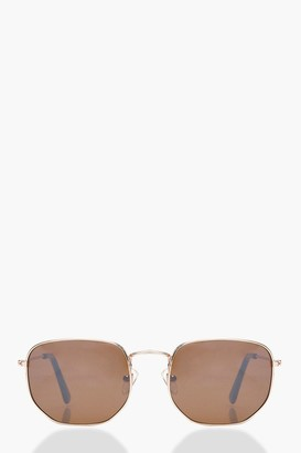 boohoo Vintage Look Hexagon Round Sunglasses