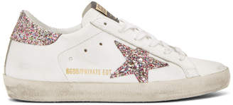 Golden Goose SSENSE Exclusive White Glitter Superstar Sneakers
