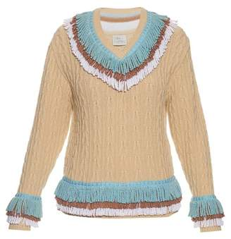 Blend of America Hillier Bartley - Fringed Cashmere And Cotton Cricket Sweater - Womens - Cream