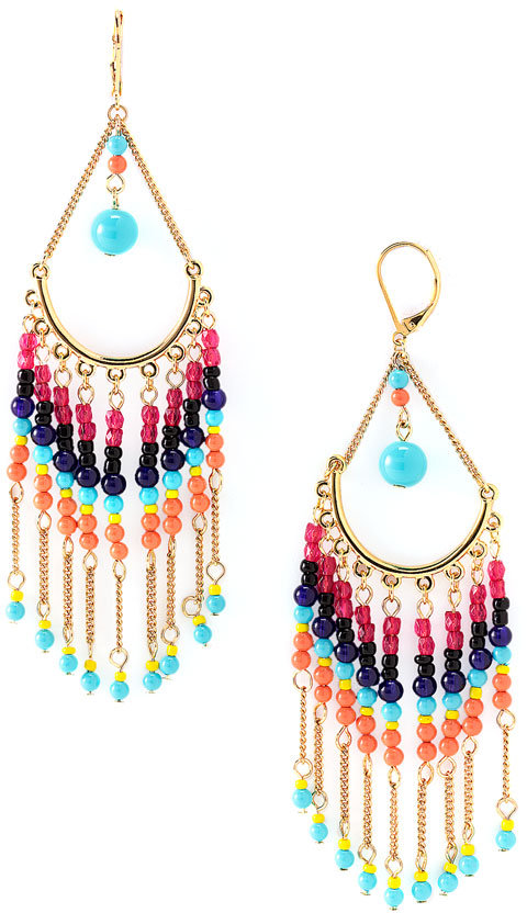 Sequin Beaded Chandelier Earrings