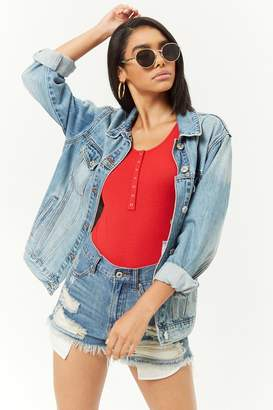 Forever 21 Ribbed Snap-Button Bodysuit