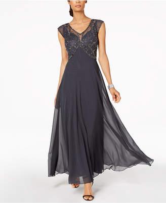 J Kara Beaded Butterfly Gown