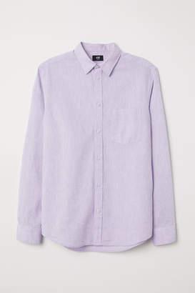 H&M Slim Fit Linen-blend Shirt - Purple