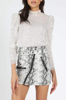 Honey Punch Puff Sleeve Sequin Top