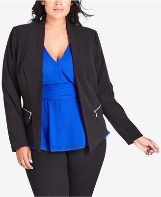 City Chic Trendy Plus Size Open-Front Jacket