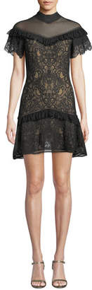 Jonathan Simkhai Mock-Neck Lace Ruffle Short Dress