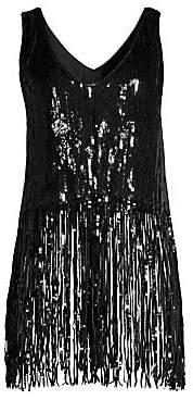 Nanette Lepore Women's Psychedelic Sequin Fringe Top