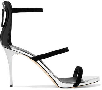 Giuseppe Zanotti Alien Metallic Leather And Velvet Sandals - Silver