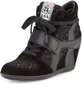 Ash Bowie Sequined Hidden-Wedge Sneaker, Black $189 thestylecure.com