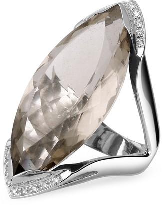 Forzieri Smokey Quartz and Diamond White Gold Fashion Ring