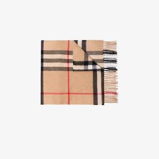 Burberry camel giant check cashmere scarf
