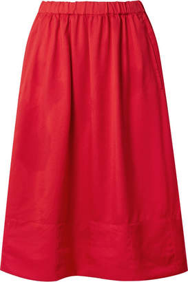 Comme des Garcons Twill Midi Skirt - Crimson