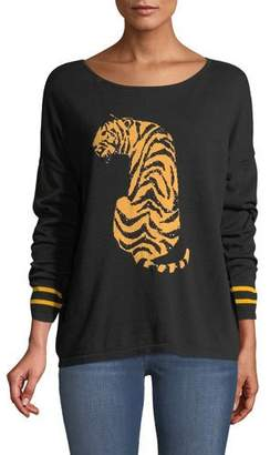 Joan Vass Boat-Neck Long-Sleeve Sequin-Striped Tiger-Intarsia Sweater, Plus Size