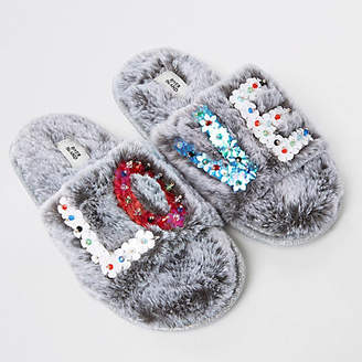 River Island Girls grey faux fur sequin 'Love' slippers