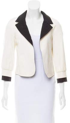 Chanel Leather Notch-Lapel Blazer