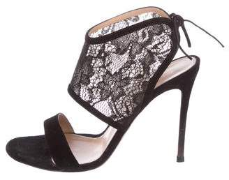 Gianvito Rossi Lace Embellished Glove Sandals
