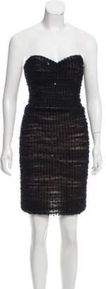 Oscar de la Renta Strapless Polka Dot Dress