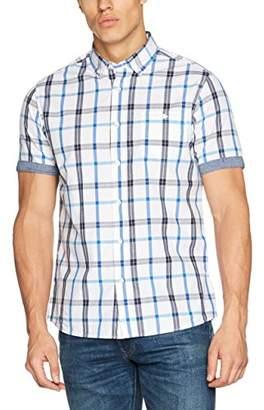 Jacamo Men's Pier Short Sleeve Check Regular Length Casual Shirt, White, (Size:S36/38)