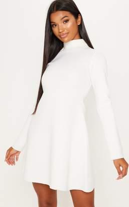 PrettyLittleThing White Bonded Scuba Funnel Neck Skater Dress