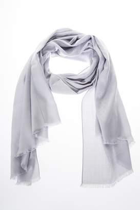 Salvatore Ferragamo Light Grey Silk & Wool Scarf With Logo