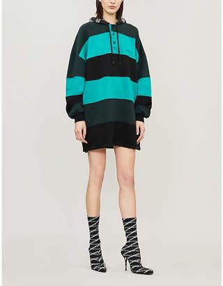 Balenciaga Striped patchwork cotton-jersey hoody dress