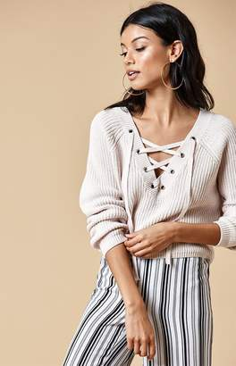 KENDALL + KYLIE Kendall & Kylie Lace-Up Cropped Sweater