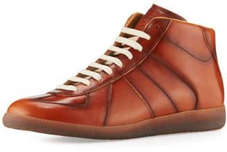 Maison Margiela Men's Replica Leather Mid-Top Sneakers, Brown