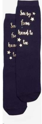 Dorothy Perkins Womens Blue Sassy From Head To Toe Slogan Ankle Socks