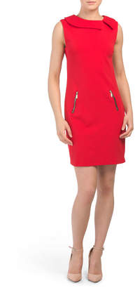 Made In Italy Envelope Neck Crepe Dress
