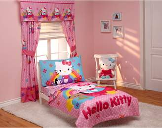 Hello Kitty Crown Crafts Infant Stars and Rainbows 4-piece Toddler Bedding Set