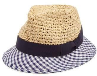 Federica Moretti Dia Gingham Brim Straw Hat - Womens - Navy Multi