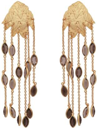Carousel Jewels - Textured Gold Leaf & Smoky Quartz Earrings