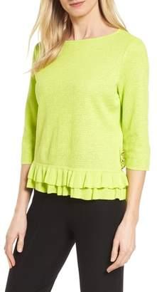 Ming Wang Button Detail Ruffle Sweater