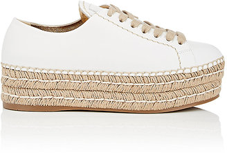 Prada Women's Leather Espadrille Platform Sneakers $695 thestylecure.com