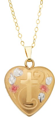 Charming Girl Kids' 14k Gold Tri-Tone Heart & Cross Locket Necklace