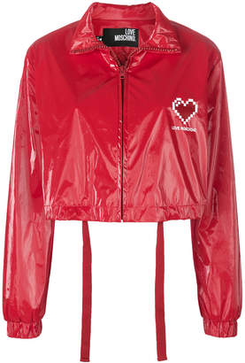 Love Moschino cropped heart bomber jacket