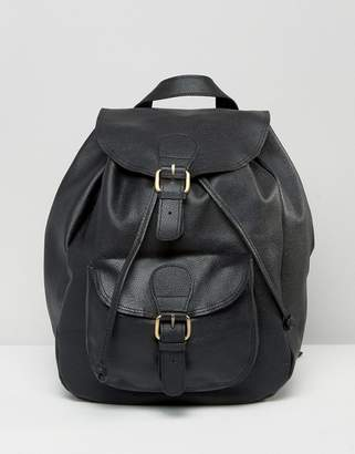 Asos Design Leather Front Pocket Backpack
