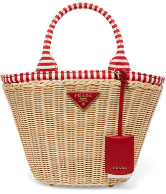 8309eb73728d Prada Giardiniera Striped Canvas-trimmed Wicker Tote - Red