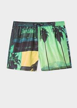 00183c8ad6f6a Men's Green 'Paul's Photo' Print Swim Shorts