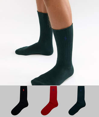 Polo Ralph Lauren cotton rib 3 pack gift box socks in green/red/black