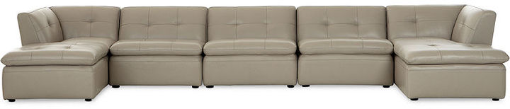 Xavior Leather 6-Piece Modular Sectional