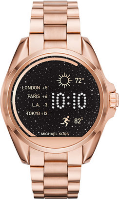Michael Kors Access Unisex Digital Bradshaw Rose Gold-Tone Stainless Steel Bracelet Smart Watch 45mm MKT5004 $350 thestylecure.com