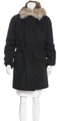 Yves Salomon Army by Heavyweight Fur-Trimmed Coat