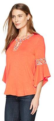 Democracy Women's 3/4 Sleeve Top with Cleo Neck and Embroidery