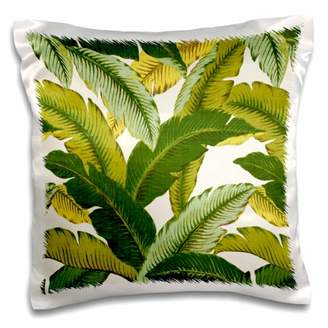 3dRose Tropical Palm Fronds Motiff - Pillow Case, 16 by 16-inch