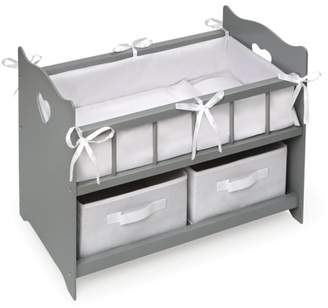 "Badger Basket Doll Crib with Two Baskets - Executive Gray - Fits American Girl, My Life As & Most 18"" Dolls"