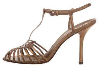 Nicole Miller Leather T-Strap Sandals